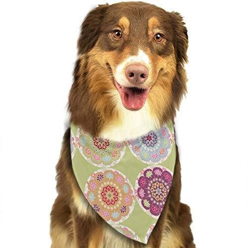 OURFASHION Folk Dala Horse Rond Fond Vert Bandana Triangle Bibs Scarfs Accessories for Pet Cats and Puppies