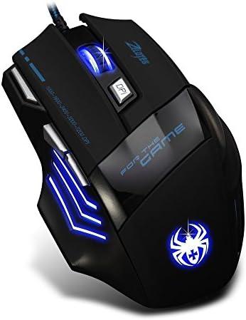 AFUNTA Zelotes Ergonomic 7200 DPI LED Optical Wired Gaming Mouse Mice 7 Buttons Compatible Mac Pro Gamer PC Laptop Desktop Notebook-Black Black(T80) 41tAHBof3hL