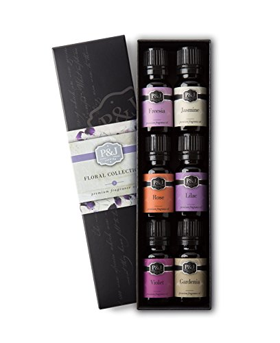 Floral Set of 6 Premium Grade Fragrance Oils - Violet, Jasmine, Rose, Lilac, Freesia, Gardenia - 10ml (Peony Essential Oil)