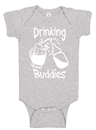 - Aiden's Corner - Funny Baby Boy & Baby Girl Clothes - Drinking Buddies Infant Bodysuit (0-3 Months, Mug Heather)