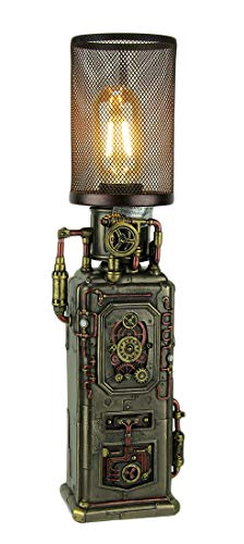Resin Table Lamps Steampunk Industrial Fuel Dispenser Tower Table Lamp 4.5 X 16.25 X 3.5 Inches Bronze