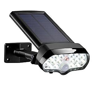 Vorally Projecteur Solaire Avec Détecteur de Mouvements – Blanc Froid 17 LEDs + IP65 + 6500K + 170LM – Pour Jardin, Garage, Escalier, etc