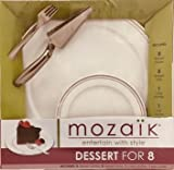 7 way pie cutter - Mozaik Dessert for 8  Guests with Upscale 7-inch Plates, Pie Cutter,  12-inch Serving Plate and Dessert Forks