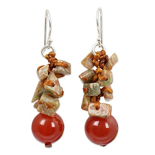Novica Jasper Ring - NOVICA Multi-Gem Carnelian .925 Sterling Silver Plated Beaded Earrings 'Orange Glam'