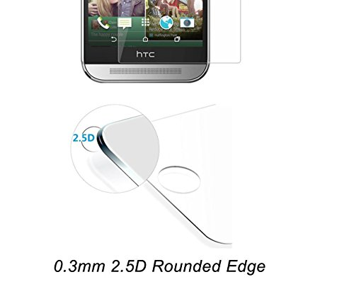 HTC One M8 Screen Protector, ACEPower HTC One M8 Tempered Glass Screen Protector, 0.3mm - Protect Your Screen from Bumps, Scratches and Drops - Lifetime No-Hassle Warranty