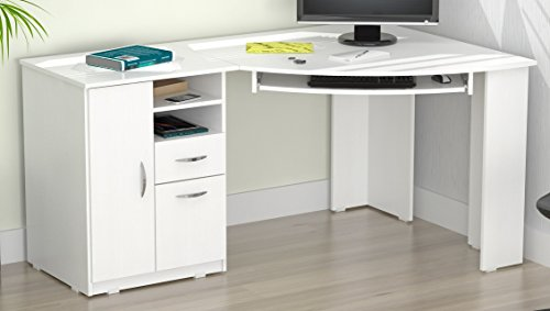 Inval ET-3415 Corner Computer Desk, Laricina White (Inval L Shaped Desk)