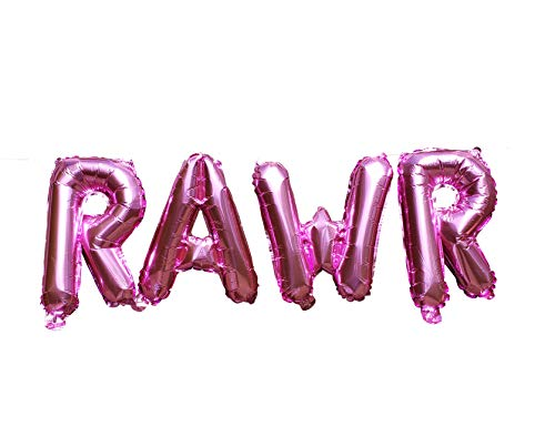 Party Balloon Packages (RAWR Balloons by PinkFish Shop - Pink Foil 16 inch Balloons for Dinosaur Birthday Party Package Decorations Supplies TREX)