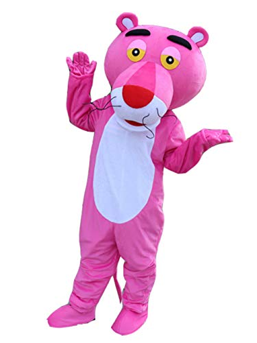 Pink Panther Mascot Costume Blue Panther Costume Panther Adult Halloween Fancy Dress (Medium, Pink) -