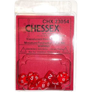 - Red Transparent Mini 10mm (3/8in) Dice Set of 7 Chessex