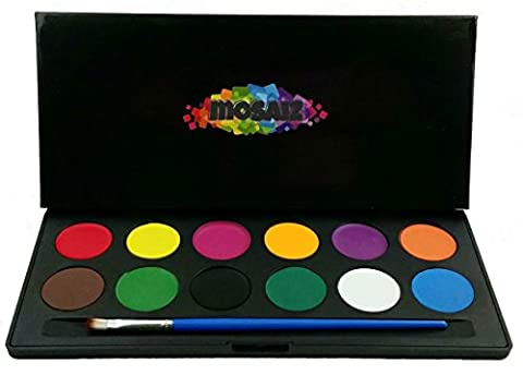 Face Paint Set - Light and Breathable - Professional Body Paints Children Face Painting 12 Colors Palette Brush Kit Non-Toxic Kids Safe - Hard Case For Gift & Protect From Exposure - Water Activated