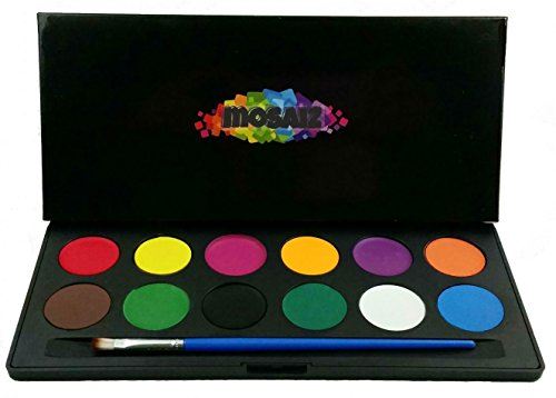 Face Paint Set Water Activated Professional Body Paint Kits Children face Painting Parties 12 Vibrant Colors Palette Brush Kit Non-Toxic Kids Safe - Hard Case For Gift & Protect From Exposure (Easy Halloween Costumes Men)