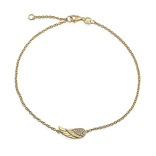 Bracelets Angel Silver Sterling Link - Angel Wing Feather Shape Anklet Protection Guardian Charm CZ Anklet Link Bracelet 14K Gold Plate Sterling Silver 9-10In