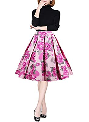 Women's Retro Printed Flared Skirt A-line Swing Casual Pleated Midi Skirts