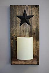 Rustic Wall Candle Sconce, Real Wood Panel and Shelf with Mounting Hanger, Includes LED Candle with 5 Hour Timer, Real Wax with Realistic Warm Flickering Light