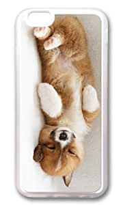 MOKSHOP Adorable cute puppy sleep Soft Case Protective Shell Cell Phone Cover For Apple Iphone 6 Plus (5.5 Inch) - TPU Transparent