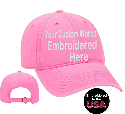 (Custom Text Embroidered Dad Hat. Unstructured Adjustable Metal Buckle (Neon Pink Dad Hat))