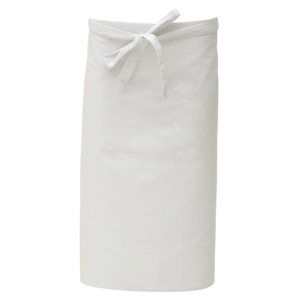 "HUBERT White Poly Cotton Waist Apron with Pockets - 30""L x 36""W"