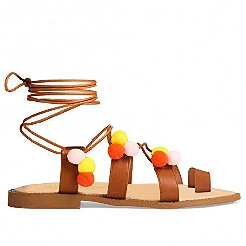 Conciare Multi Colorate Pom Poms Pizzo Wrap Up Gladiatori Peep Toes Piatto Strappy Sandali UK5/EURO38/AUS6/USA7