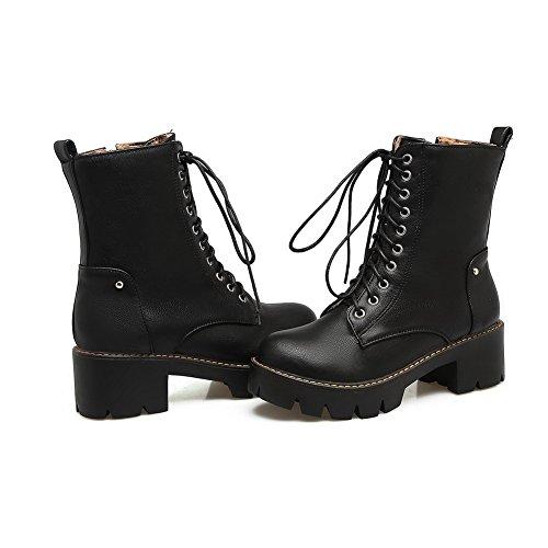 Black Women's Boots Solid Kitten Heels Blend AgooLar Round Toe Materials Zipper R7AqHxHnB