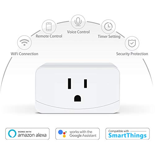 meross Mini Smart Plug WiFi Outlet 16A, Support Alexa, Google Assistant and SmartThings, App Remote Control, Timer, FCC and ETL Certified, No Hub Required, 2 Pack