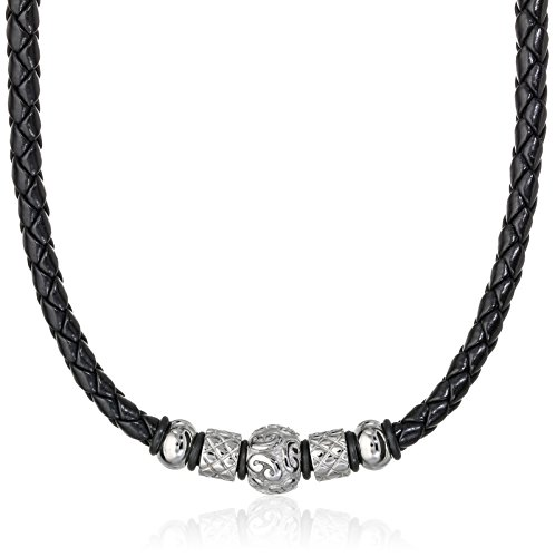 Cold Steel Men's Stainless Steel Tribal Bead Black Leather Necklace, - Leather Necklace Designer