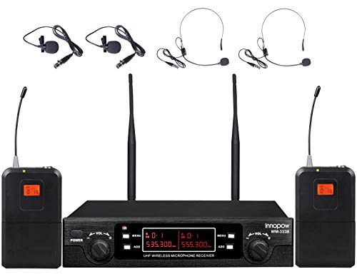 innopow 80-Channel Dual UHF Wireless Microphone System,inp Cordless mic Set, 2 Headset& 2 Lapel Lavalier Microphone, Long Distance 200-240Ft Prevent Interference,16 Hours Use for Church, -