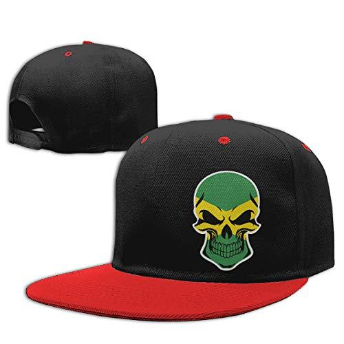 MAKS&&QA/1 Boy's Girl's Adjustable Curved Visor Baseball Hats Jamaica Flag Skull Baseball Hats for Under 13 Red -