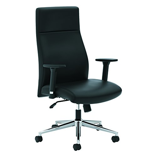 (HON Define Executive Leather Chair - High-Back Office Chair for Computer Desk, Black)