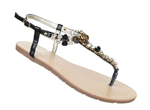 Damen Sandalen Schuhe Sommerschuhe Strandschuhe Zehentrenner Blau 41 wcdNI1sy3P