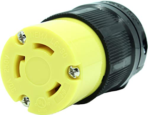 (Journeyman-Pro NEMA L6-30R 30 Amp, 250 Volt, 2P, 3W, HJP-2623 Locking Female Plug Connector, Black Yellow Industrial Grade, Grounding 7500 Watts Generator (L6-30R Female Plug))