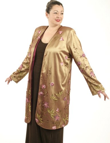 Peggy Lutz Plus Women's Dragon Lady Coat in French Embroidered Mesh-XS (14/16)-Bronze