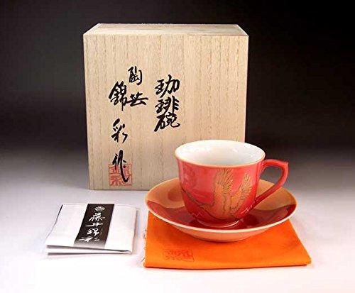 Japanese traditional crafts   Arita - cinnabarçÖ‹àAya auspicious Fuji crane picture coffee cup   potter Fujii NishikiAya