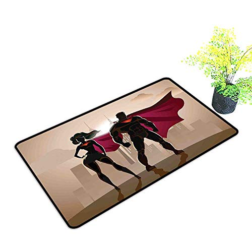 Diycon Washable Doormat Superhero Super Woman and Man Heroes in City Solving Crime Hot Couple in Costume W31 xL47 Easy to Clean Beige Brown -