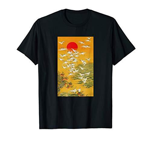 (Japanese Crane Vintage Woodblock Hokusai Japan Art T-Shirt)
