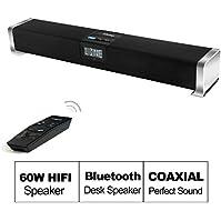 Besteye Indena Wireless Bluetooth Sound Bar Speaker 60W HIFI Speakers with IR Remote Control Coaxial Input 2.1...