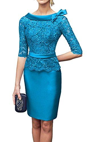Kleid blau spitze knielang