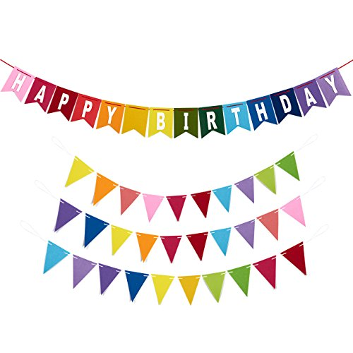 Blue Panda Happy Birthday Banners - 4-Piece Set - Includes 1 Felt Birthday Banner 3 Felt Pennant Banners - Suitable Boys, Girls, Adults - Rainbow Birthday Decoration