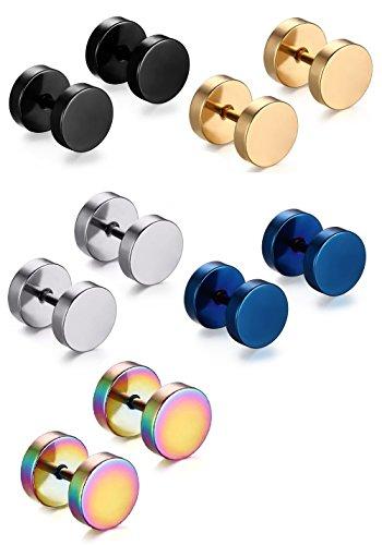 Premuim Titanium Steel Stud Earrings 5 Pairs Men Women Polished Ear Barbell Non allergenic No Rust Not Fear Water & Sweat Body Piercing Jewelry, 10pcs