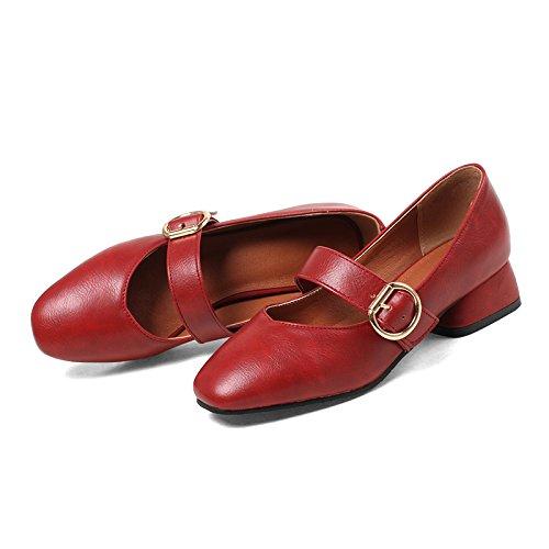 rojo De Con Adolescentes Parte Enlazan Zapatos De Y De Zapatos Con No De Vino Solo Sólido Primavera Y Gruesa Zapatos Color GAOLIM Mujer Mujer Tendencia SBPvqn5n