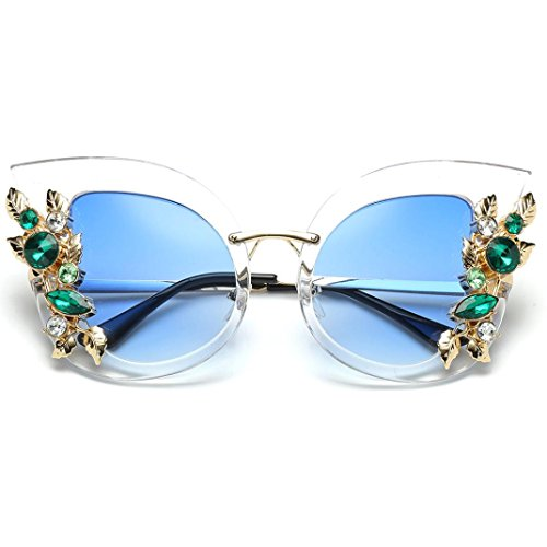 de mujeres sol moda diamante clásicas Brillo la unisex marca Portección de gato Polarizado artificial metal Clásico Espejo las UV del oído del del marco del de Sol F Lentes del Gafas de la Gafas de wHOBxx