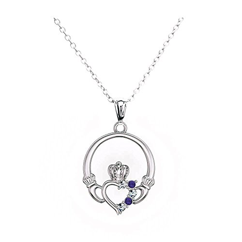 Claddagh Jewelry - Claddagh Heart Pendant Charm Birthstone Necklaces for Women (Blue)