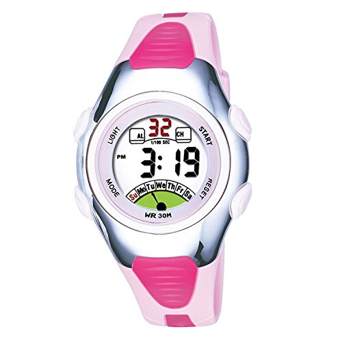 Girls Watches for Age 4-10 Round Sports Digital Kids Watches Outdoor Waterproof Shock Resistant Pink