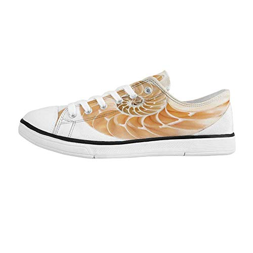 Nautilus Shell Top - Sacred Geometrty Decor Comfortable Low Top Canvas Shoes,Nautilus Shell Showing The Chambers in Distance Curves Helix Hidden Print for Men Boys,US 10
