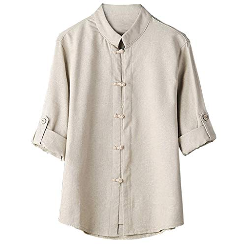 Mens T Shirts Men Classic Chinese Style Kung Fu Button Down Shirts Tops Tang Suit 3/4 Sleeve Linen Casual Dress Shirt Khaki