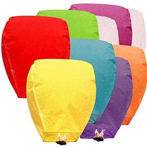 ACTIMOB Sky Lanterns/Paper Wish Lamp  Full Size, Multicolor   Pack of 10