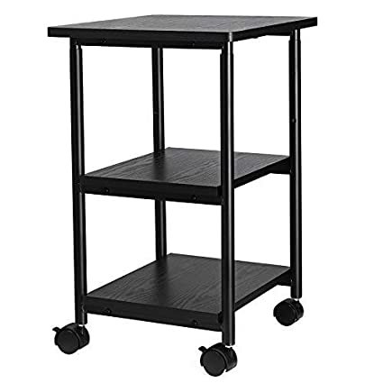 desk with printer storage white songmics adjustable printer stand desk mobile machine cart with shelves heavy duty storage trolley for amazoncom