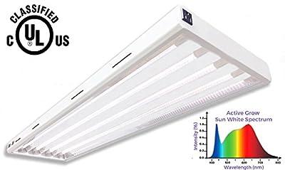 Active Grow T5 LED Grow Light Fixture for Gardens, Vegetables & Flowers - Contains (4) 24W T5 HO 4FT LED Tubes in Sun White Full Spectrum (High CRI 95) - 120V - UL Marked