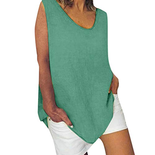 Satin Bebe (Cotton Linen Baggy Tops Womens Summer Loose Sleeveless Casual T-Shirts Blouse Green)