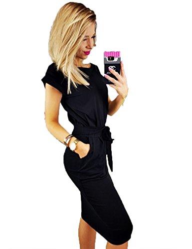 Beautiful Black Dress (Kancystore Women's Causal Short Sleeve Belted Pencil Dress with Pockets (Black, XL))