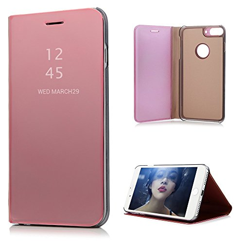 iPhone 8 Plus Case, iPhone 7 Plus Wallet Case Cover Luxury Electroplate Flip Clear View Mirror Skin Protective Bumper Kickstand PU Leather Back Shell Hard Inner Bumper for iPhone 7+ / 8+ - Rose Gold
